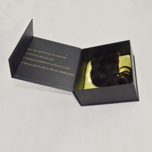 Custom Black Wig Packing Box/ Storage Box /Gift Box with Gold Logo