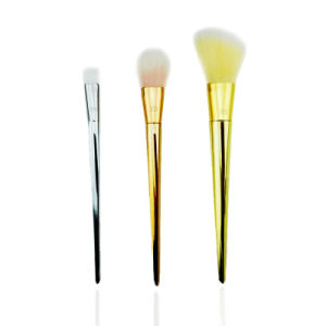 3PCS Professional Rose Gold Cosmetic Makeup Brush Set for Face