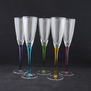 Hand Made Champagne Glass with Colorfl Stem (B-CP13) pictures & photos