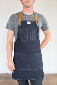 Custom High Quality Denim Apron with Leather Strap pictures & photos