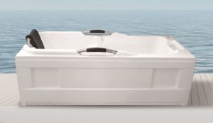 Popular Whirlpool Massage Acrylic Bath Tub with Handle and Pillow pictures & photos