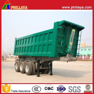 3 Axles End Dumper Rear Tipping Trailer Wiyh Hyva Cylinder pictures & photos