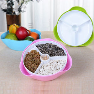 Plastic Double Dish 2 in 1 Separate Snack Bowl pictures & photos