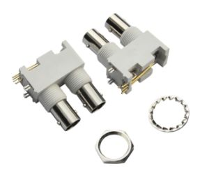 Right Angle White Plastic Double BNC Connector pictures & photos
