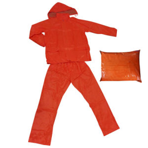 Adult′s Waterproof Fluorescent Rainsuit Raincoat Rainwear Polyester Workwear (RWA07) pictures & photos