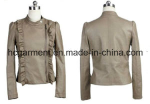 Fashion Punk PU Winter Jacket for Lady/Women, Leather Garments pictures & photos