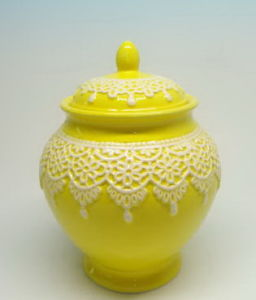 Ceramic Cookie Jar with Flower, Ceramic Canister, Holiday Gifts