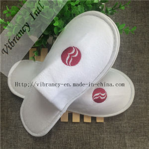 Good Quality Hotel Velvet Close EVA Embroidery Logo Slippers pictures & photos