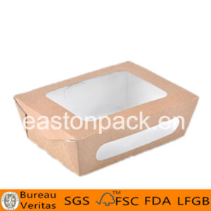 Disposable Take Away Big Paper Salad Box with Window pictures & photos