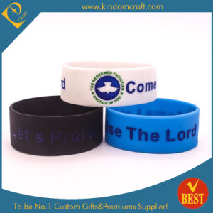 Customized 25mm Width Debossed Logo Silicone Wristband From China pictures & photos