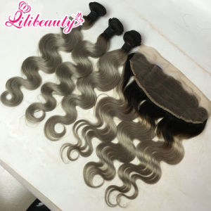 1b/Grey Ombre 13X4 Lace Frontal with Bundles pictures & photos