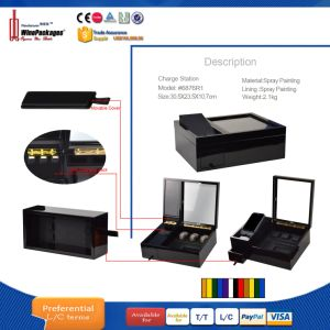 Wholesales Spray Painting Wooden Charging Station Storage Boxes