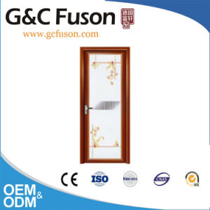 Wooden Color Frame Tempered Glass Aluminum Bathroom Swing Door pictures & photos