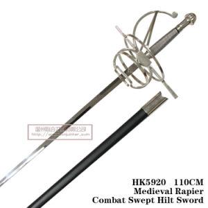 Spainish Commanding Swordmedieval Rapiercombat Swept Hilt Sword 110cm HK5920 pictures & photos