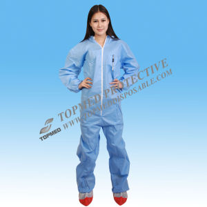 Disposable Nonwoven Coverall with White Blue Orange Color pictures & photos