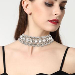 Luxury Full Rhinestone Super Glittering Flower Collar Diamond Choker Necklace Jewelry pictures & photos