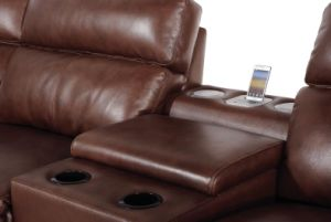 Brown Color Big Size U Shape Leather Recliner Sofa pictures & photos