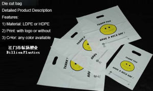 Plastic Punch Bag Smile Face Shopping Bag pictures & photos