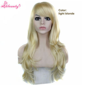 Long Blonde Wig with Bangs Cheap Long Wavy Synthetic Wigs pictures & photos