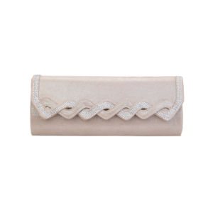 Champagne Rhinestones Wave Flap Clutch Bag (MBNO041154) pictures & photos