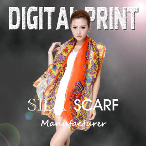 Digital Printed Silk Scarf pictures & photos