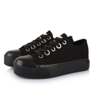 Fashion Lady′s Canvas Flat Black Casual Shoes (BF-C353) pictures & photos
