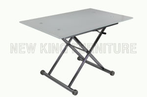 Modern Fashion Temper Glass Top with Foldable Steel Foot Dining Table (NK-DT024) pictures & photos