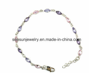 925 Fashion Sterling Silver Necklace with Colourful Crystal Stones for Women pictures & photos