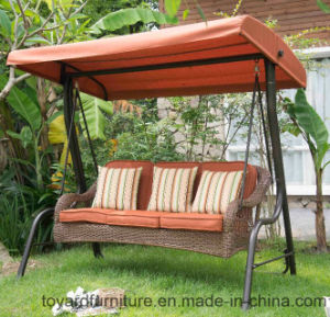 2017 USA Style New Porch Hanging 3-Seaters Rattan Wicker Garden Swing Hammock Chair pictures & photos