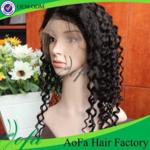 Long Full Human Hair Medium Cap 140% Density Lace Wig pictures & photos