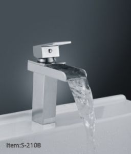 Square Brass Bathroom Waterfall Basin Faucet