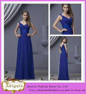 Hot Elegant Empire V-Neck Sleeveless Spaghetti Straps Chiffon Royal Blue Evening Dresses for Pregnant Women Yj0050
