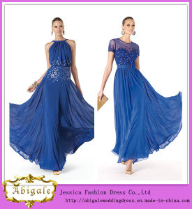 Elegant Brand Name Floor Length A-Line Flowing Chiffon Royal Blue Elie Saab Evening Dresses (WD45) pictures & photos