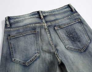 OEM Fashion Classic Embroidery Ripped Slim Spandex Men′s Jeans Trousers pictures & photos