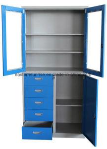 Premium Half Glass 4 Door Metal Steel Filing Cupboard/Cabinet pictures & photos