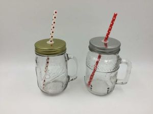 High Quality Glass Mason Drinking Jar with Metal Cap pictures & photos