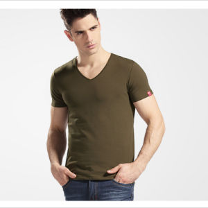 Blank V-Neck Slim T-Shirt for Man Clothing pictures & photos