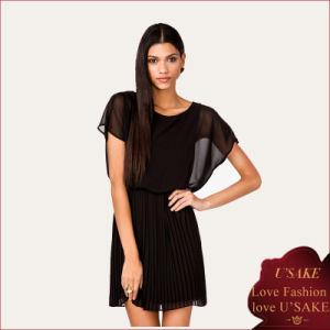 Sheer Europe Pleated Black Dress (S304093)