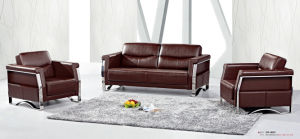 Coffee Color Office Leather Sofa (8507) pictures & photos