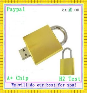 Golden Lock Shape USB Flash Drive (GC-L999) pictures & photos