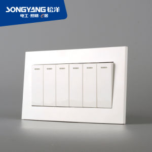 Electric Switch White Series 6gang Wall Switch