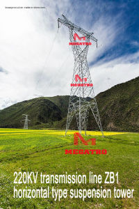 Megatro 220kv Transmission Line Zb1 Horizontal Type Suspension Tower pictures & photos