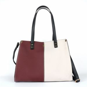 Trendy Contrast Color PU Lady Handbag Two-Tone Fashion Bags pictures & photos