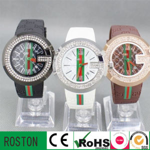 Leather Crystal Diamond Rhinestone Lady Quartz Wristwatch Xmas Gift pictures & photos