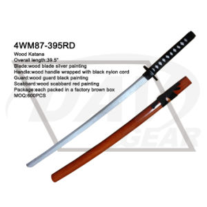 "39.5"" Wood Katana with Silver Painting Blade: 4wm87-395rd pictures & photos"