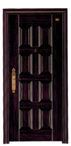 Black Walnut Design Deep Embossing Panel Steel Security Door pictures & photos