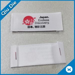 Red Flower Logo Woven-Edge Fabric Folded Printed Label pictures & photos