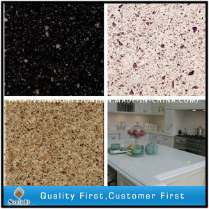 Artificial Solid Surface Red/Black/Yellow Colors Quartz Stone Slabs pictures & photos
