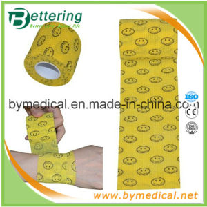 Coban Smile Face Printing Self Adhesive Nonwoven Cohesive Wrap Bandage pictures & photos
