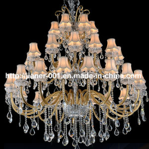 36 Lights Project Crystal Chandelier Lamp with Fabric Shade pictures & photos